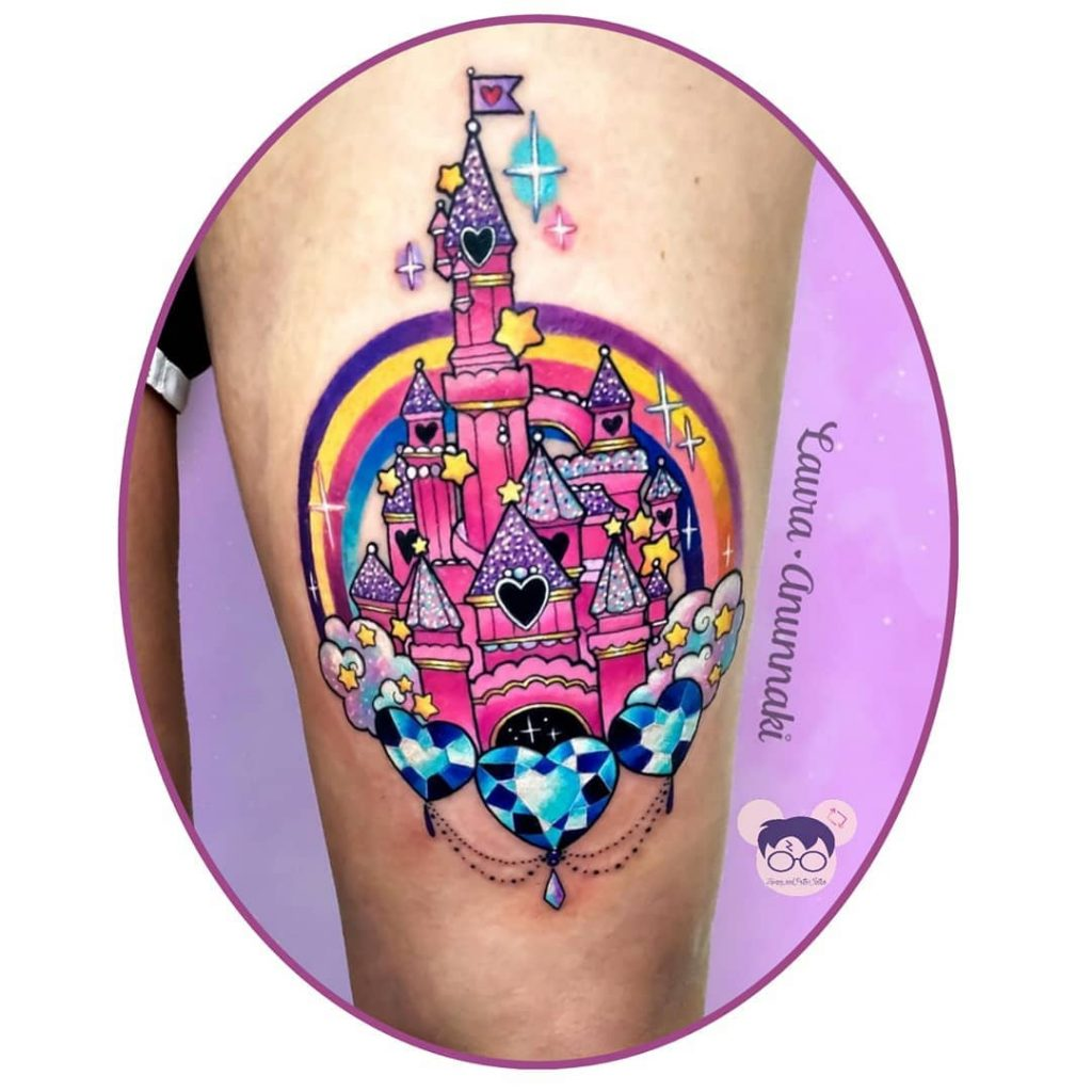 Colorful Disney Castle Tattoos