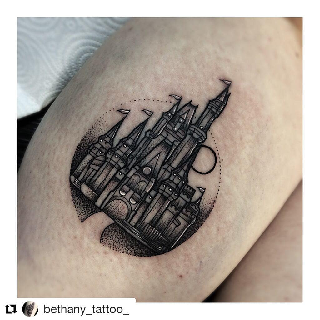 Disney Castle Dotwork Tattoo Disney Castle Tattoo
