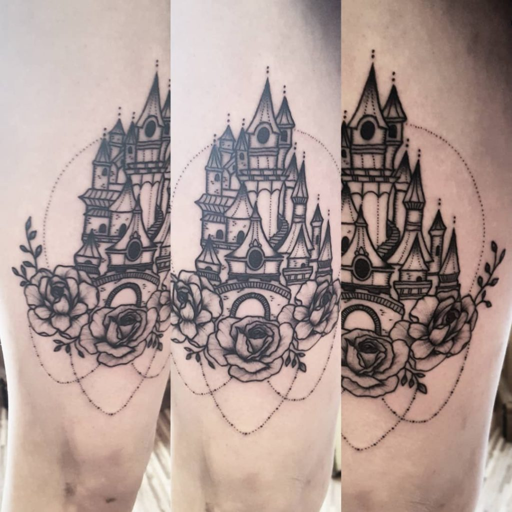 Disney Castle and Roses Tattoo