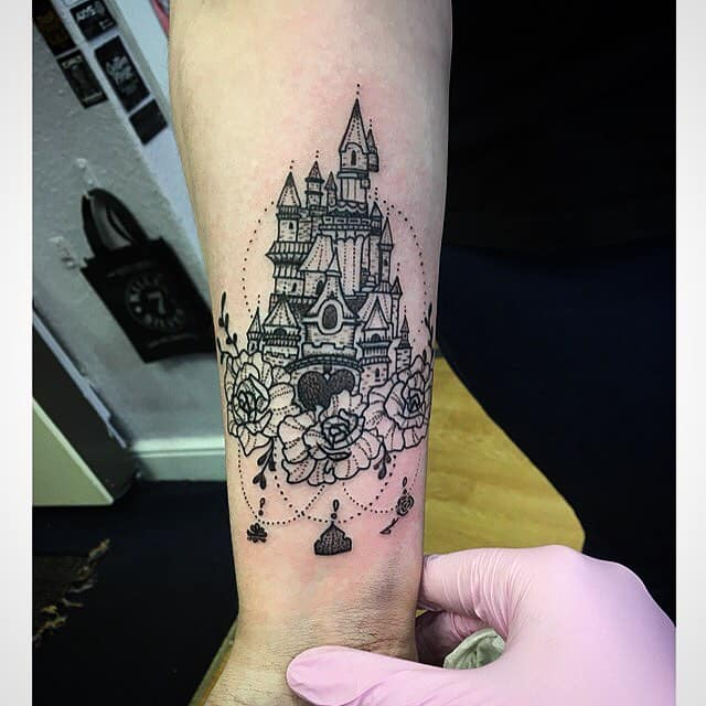 Dotwork Disney Castle Tattoos