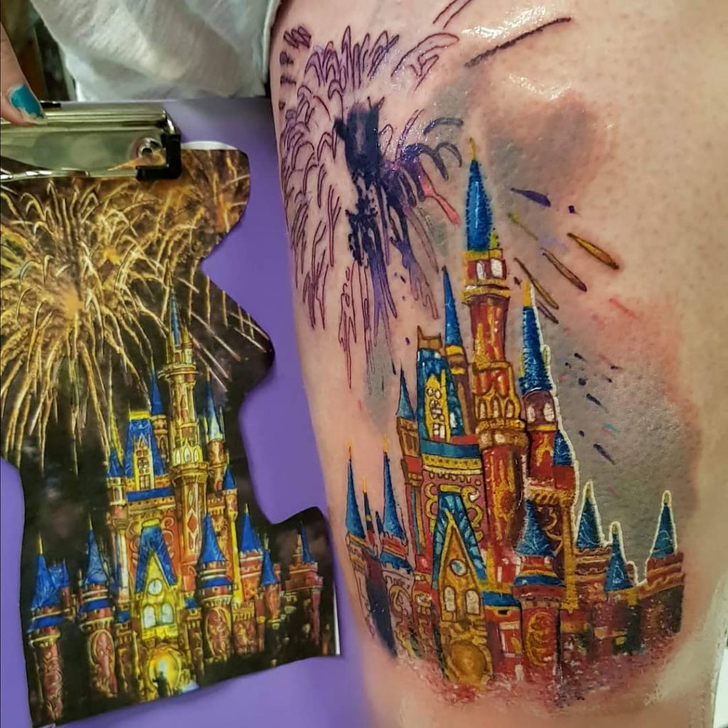 Fireworks and Disney Castle Tattoos