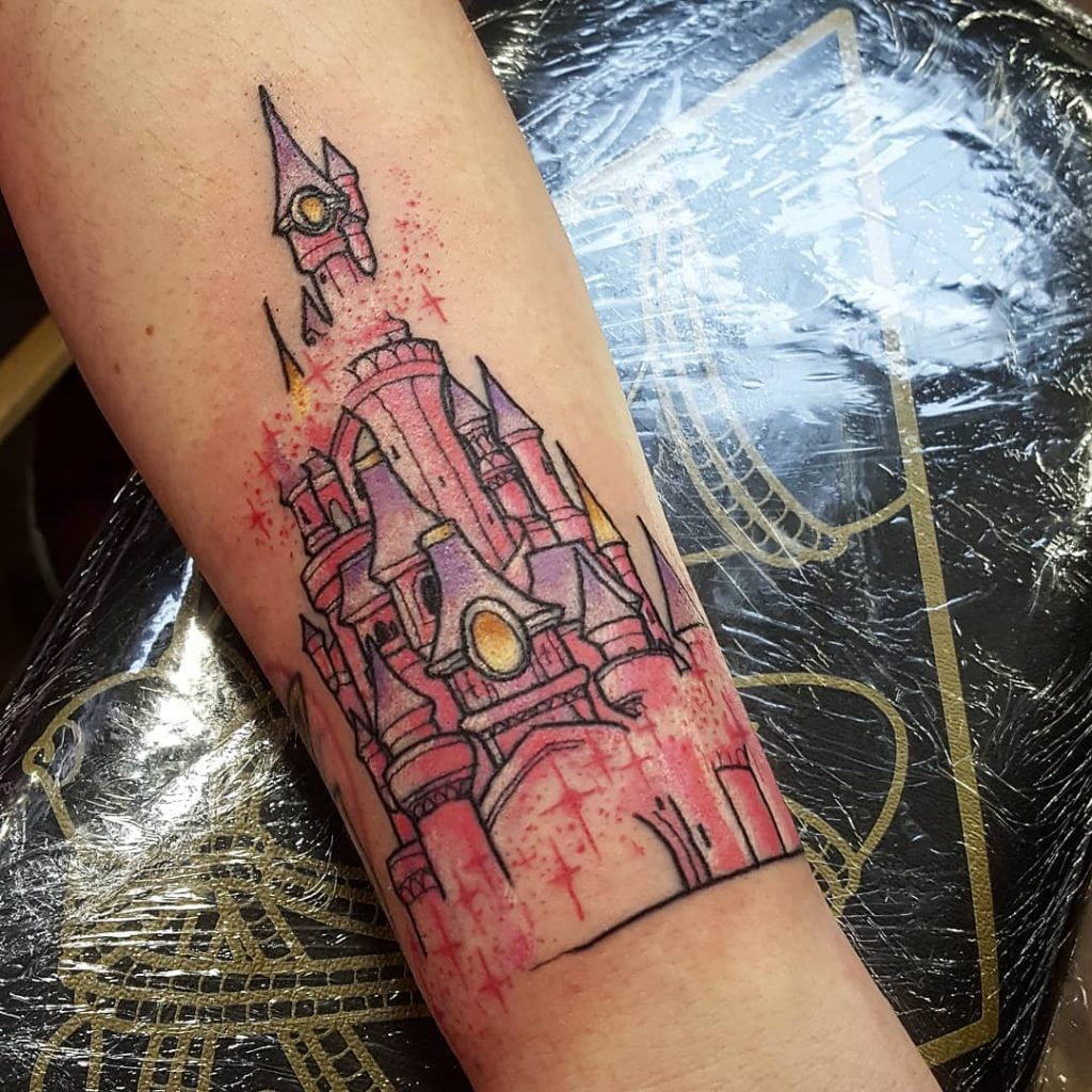 Glittery Disney Castle Tattoos