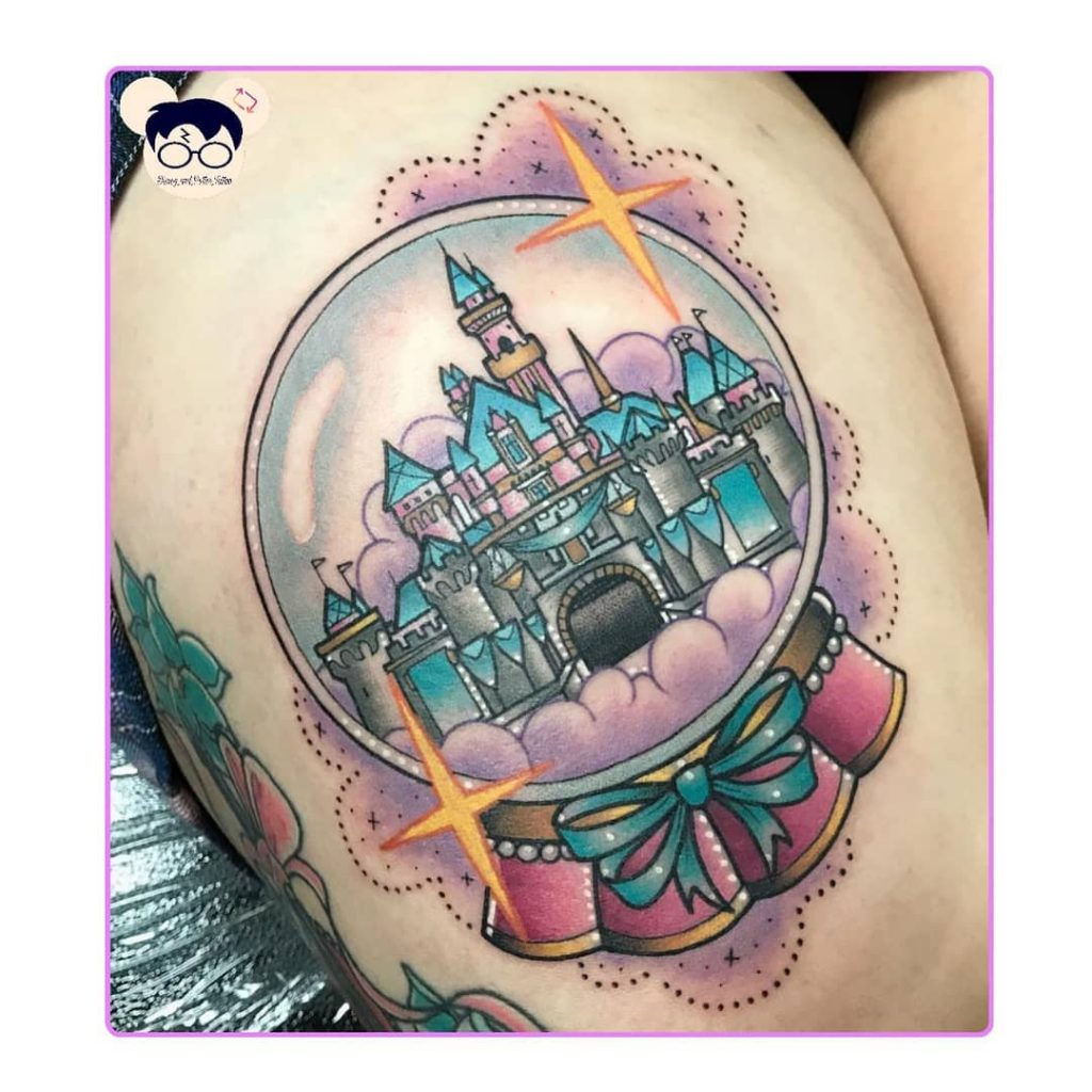 Lovely Disney castle snow globe tattoo disney castle tattoos