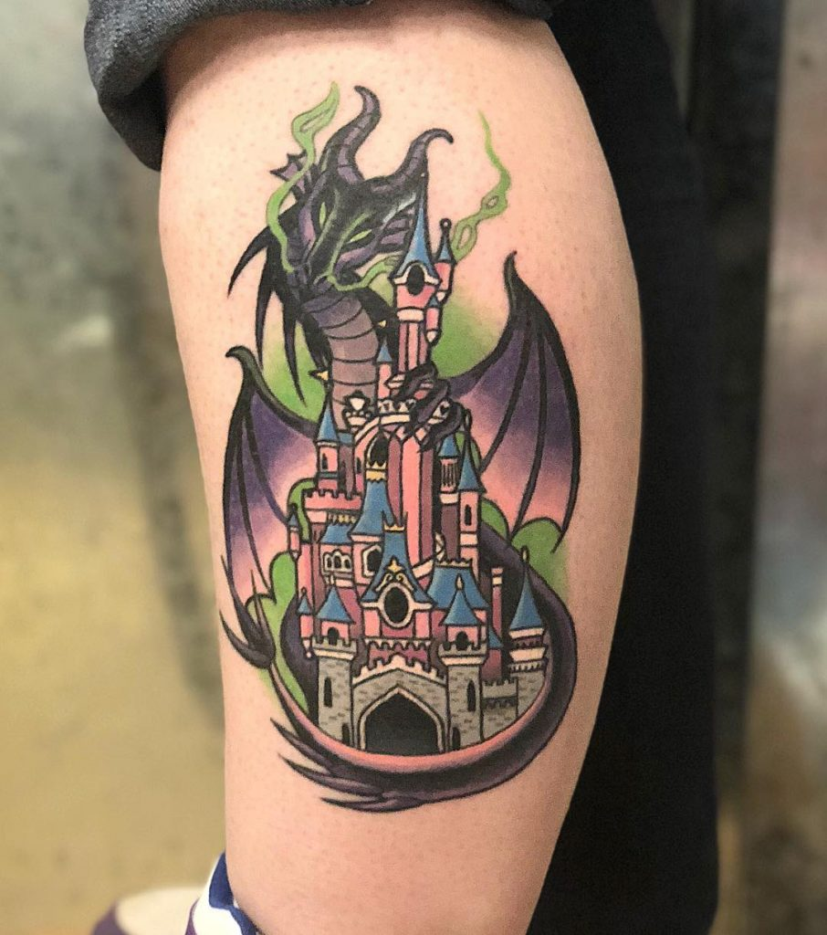 Maleficent and Disney Castle Tattoos