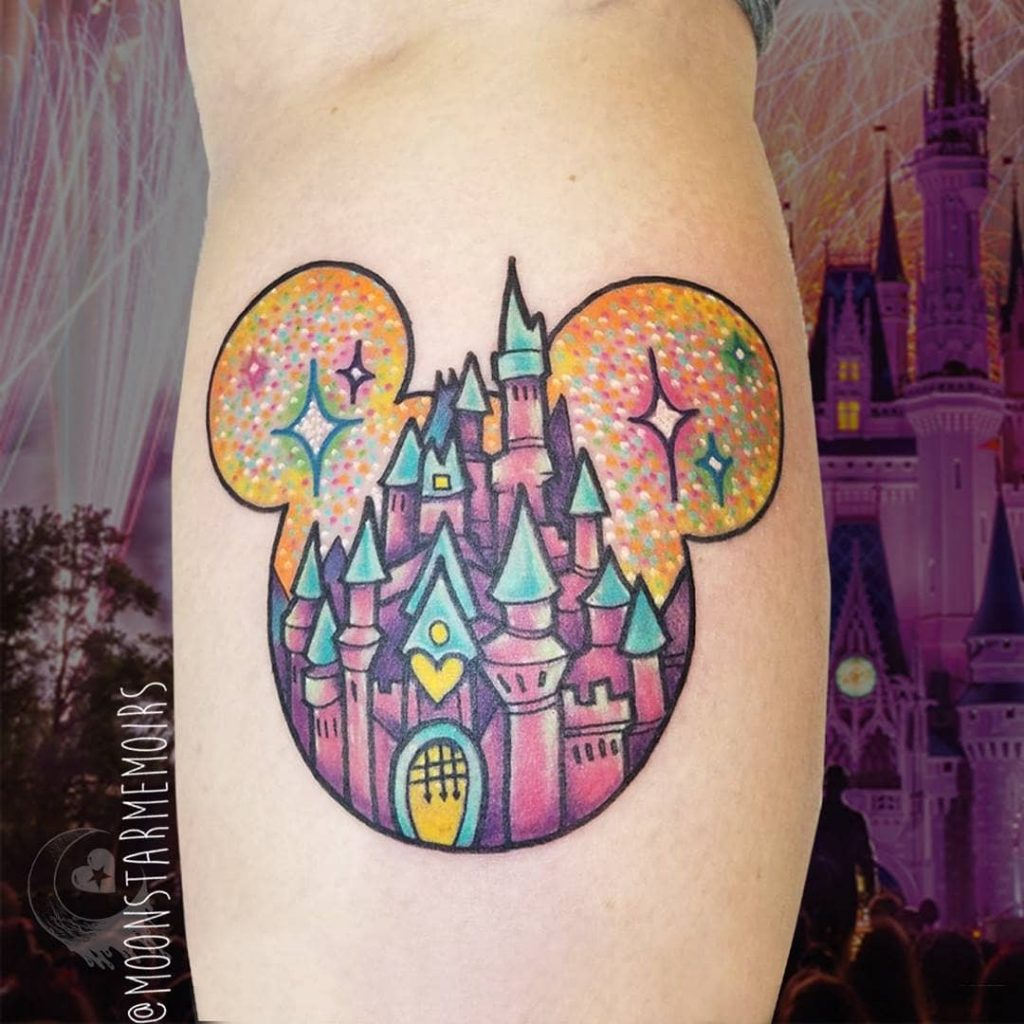 Sparkly Disney castle Tattoos