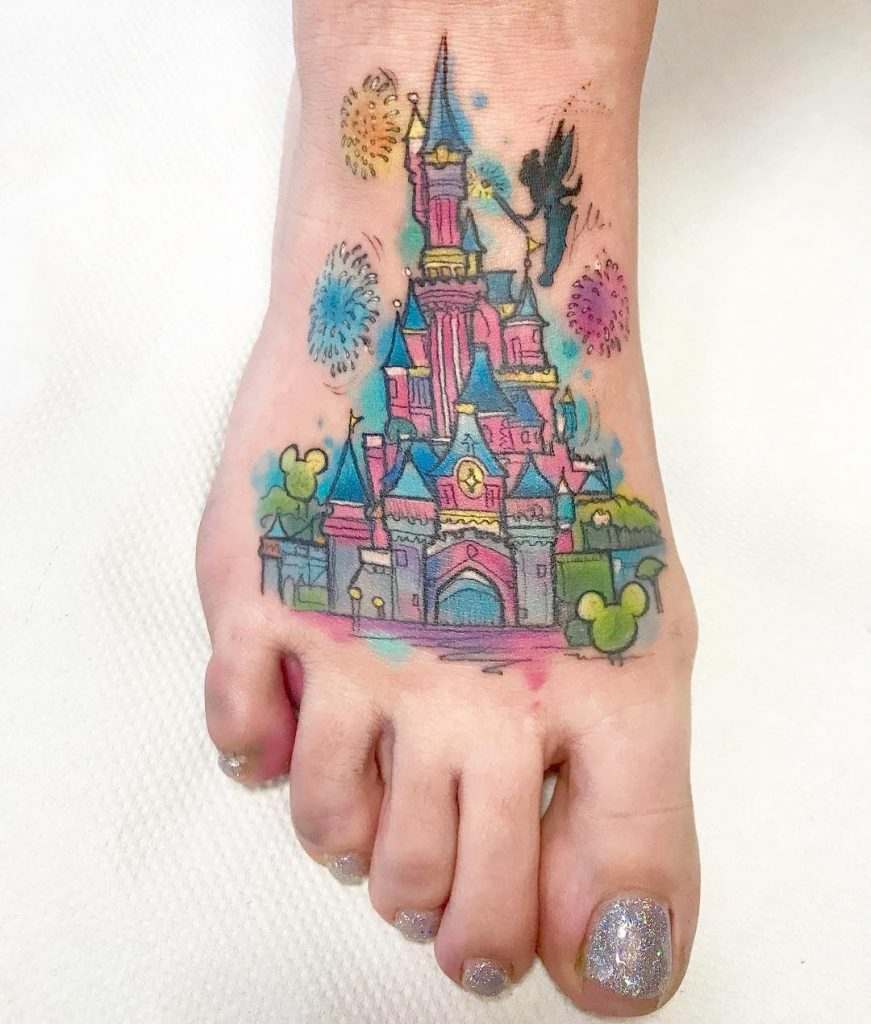 Super Cute Foot Disney Castle Tattoos