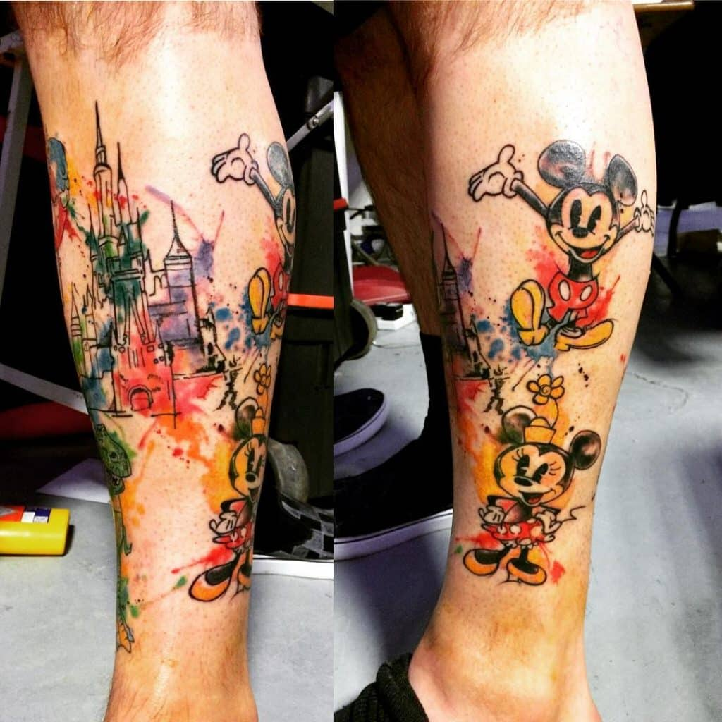 Watercolor Disney Castle and Mickey and MIni Mouse Tattoos