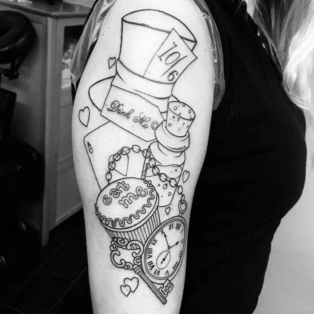 Alice in Wonderland Linework Tattoo