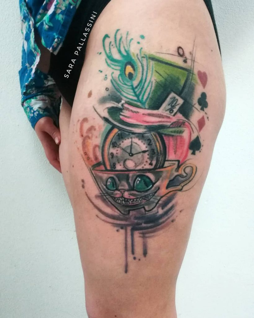 Cat Tea Cup Alice in wonderland tattoos