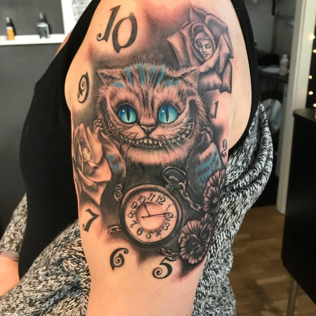 Cheshire Cat and Clock Alice in Wonderland Tattoos