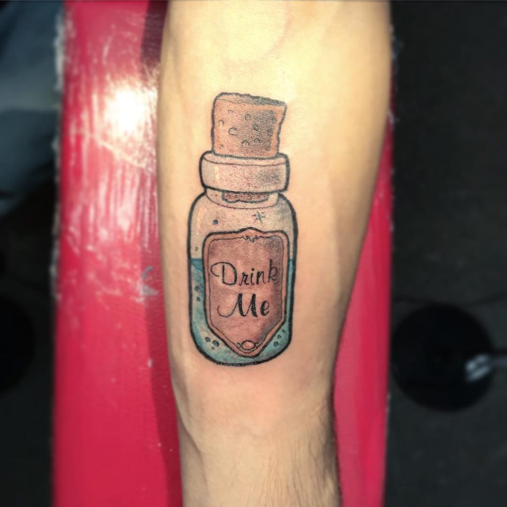 Cute Drink Me Potion Alice in WOnderland Tattoos