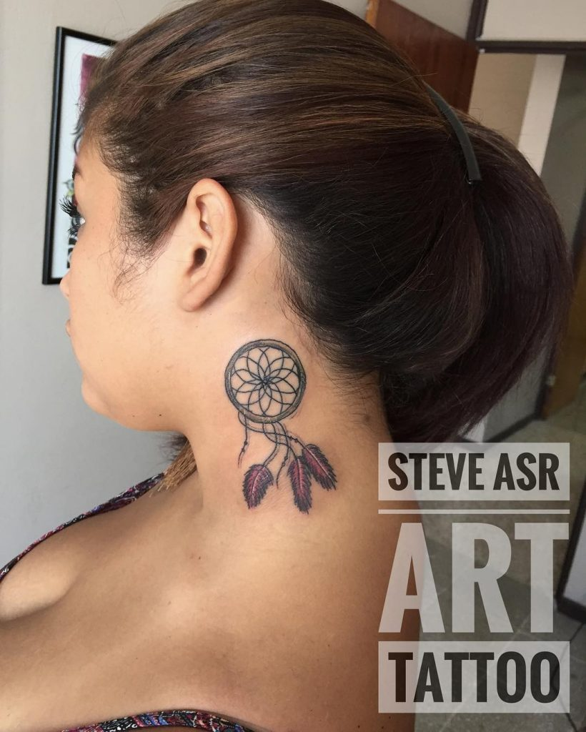 Dream Catcher NEck Tattoos for women