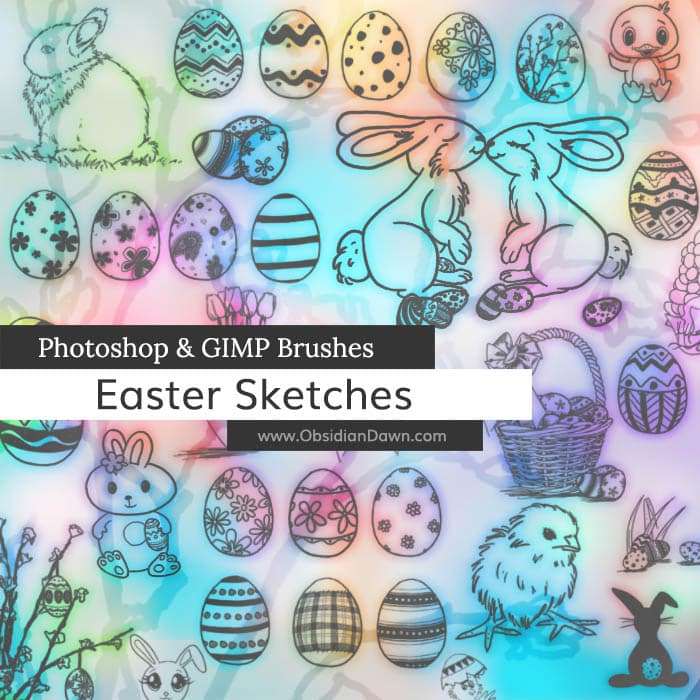 Easter Sketches Brushes free photoshop brushes