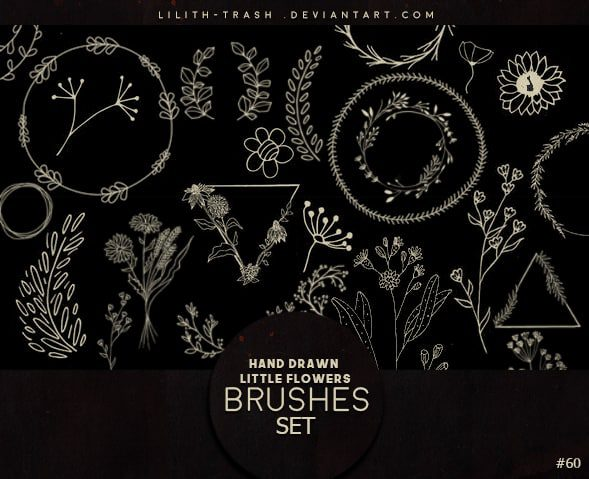 Hand Drawn Little Flowers Brush Set free photoshop brushes