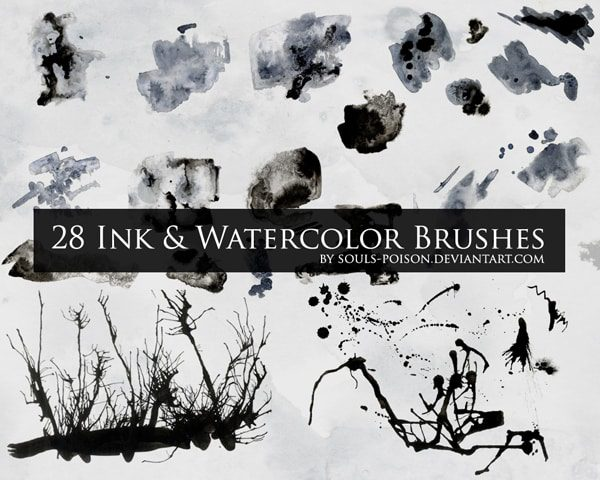 Ink and Watercolor Brushes free photoshop brushes