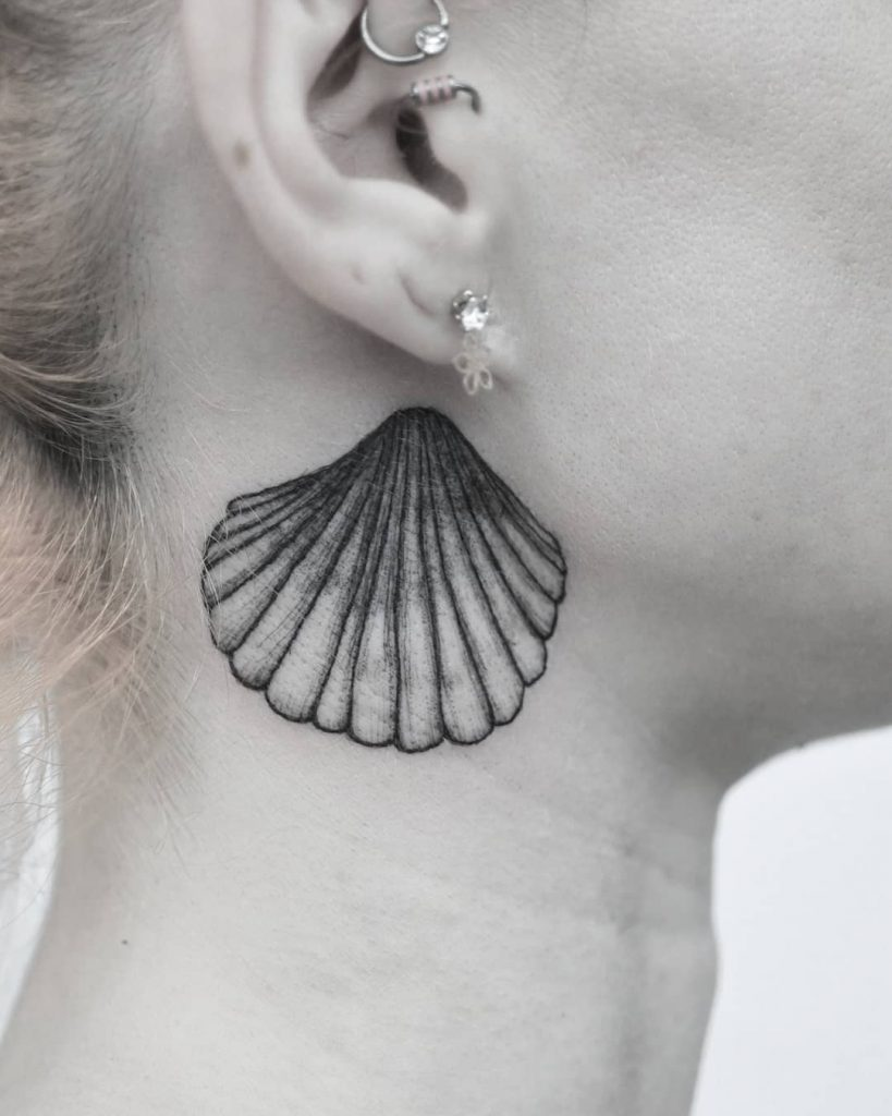 Seashell Neck Tattoos for Women