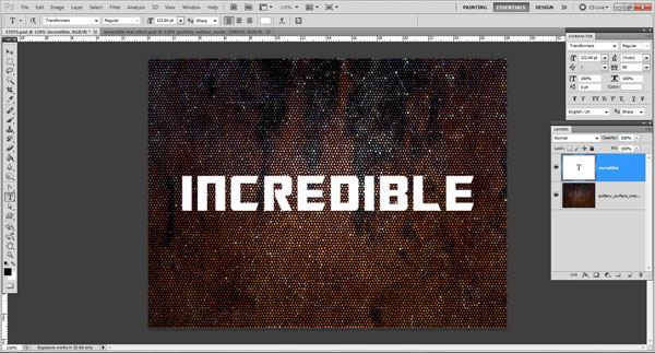 add text Incredible 3D Text Effect