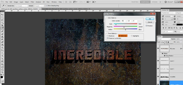 color balance Incredible 3D Text Effect