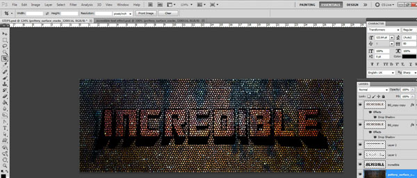 crop the image Incredible 3D Text Effect