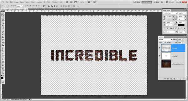 delete unwanted part Incredible 3D Text Effect