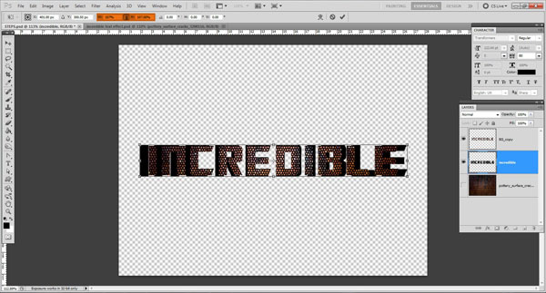 rasterize text layer Incredible 3D Text Effect