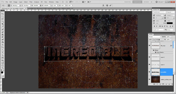transform tool Incredible 3D Text Effect