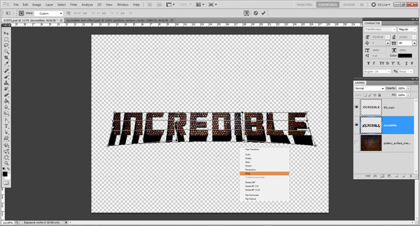 wrap the text Incredible 3D Text Effect