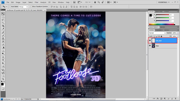 step 12 call 3D text small How To Create A 3D Movie Poster In Photoshop