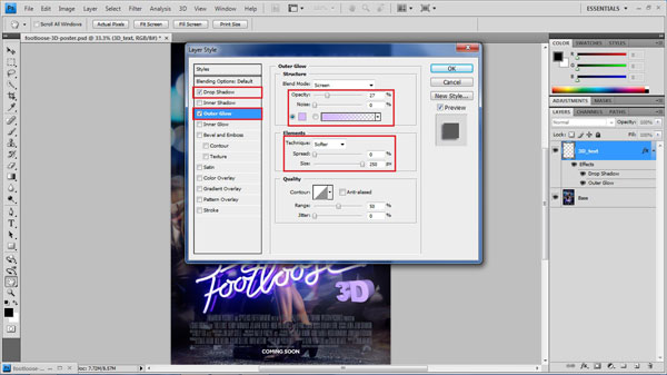 step 13 style 3D text small How To Create A 3D Movie Poster In Photoshop