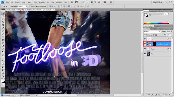 step 15 change color small How To Create A 3D Movie Poster In Photoshop