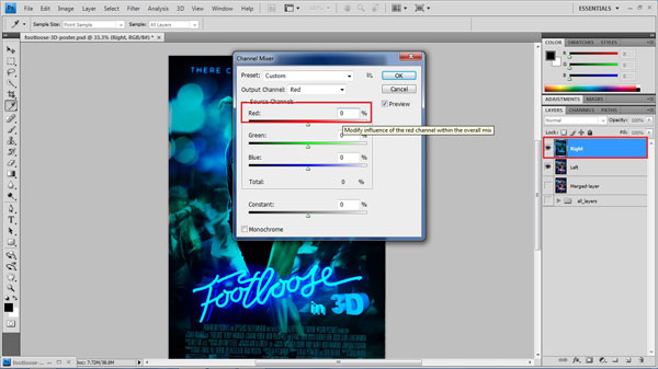 step 19 remove red small How To Create A 3D Movie Poster In Photoshop