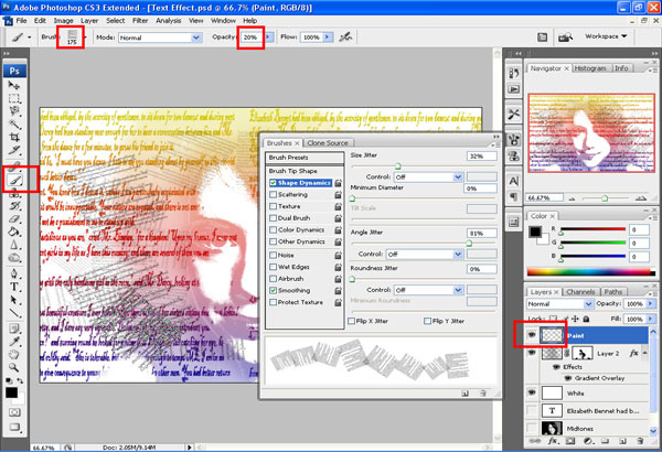 text paint s Artistic Text Effect