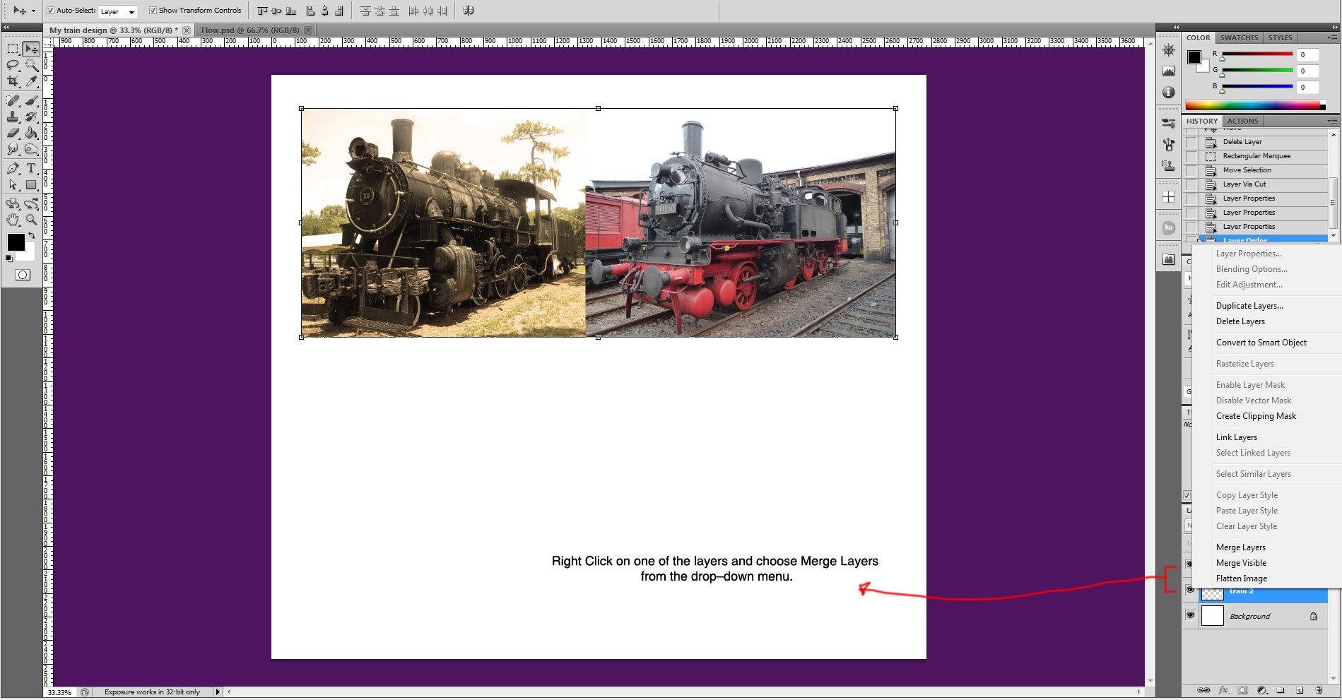 train photo layers 3 cropped Sweet Farewell Presentation Illustration Tutorial