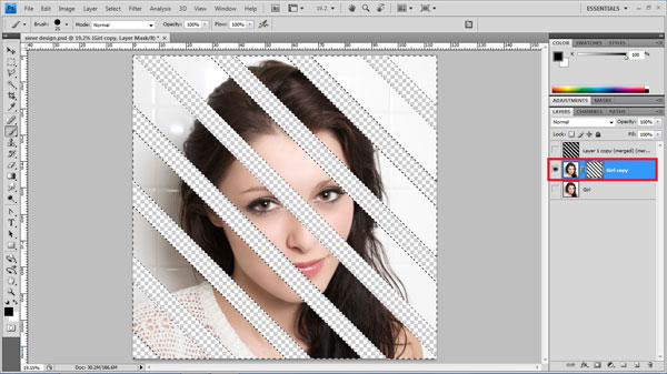 step14 paint mask How To Create Ravishing Interweaving Photo Strips Effect in Photoshop