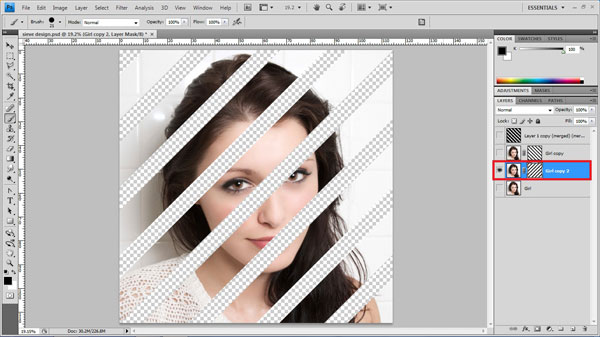step16 paint mask How To Create Ravishing Interweaving Photo Strips Effect in Photoshop