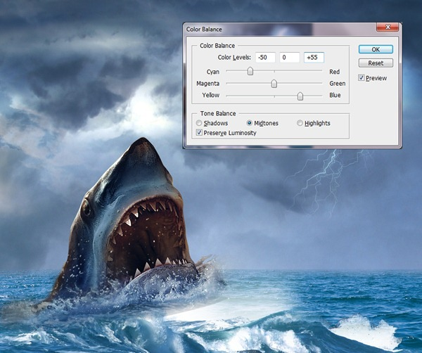blue shark How to Create Realistic JAWS Movie Poster in Photoshop