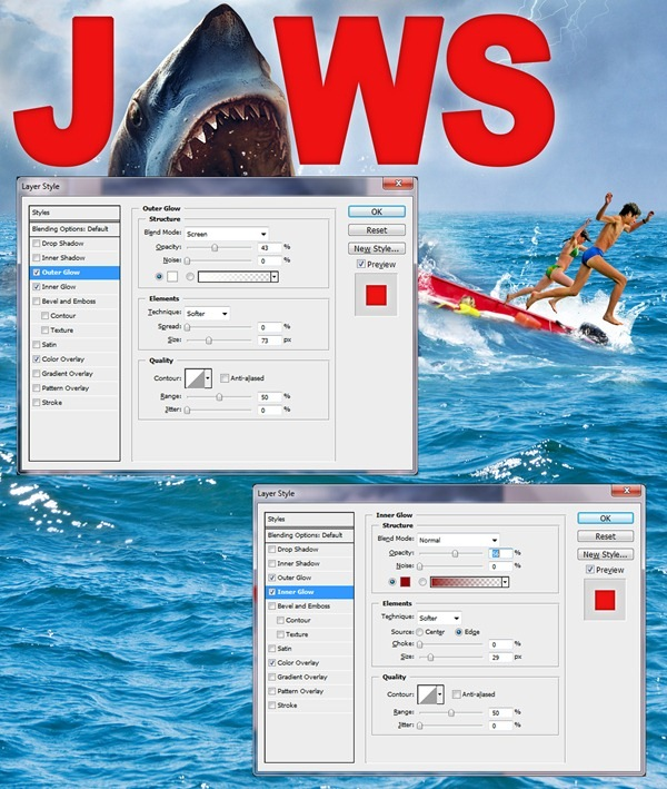modify text How to Create Realistic JAWS Movie Poster in Photoshop