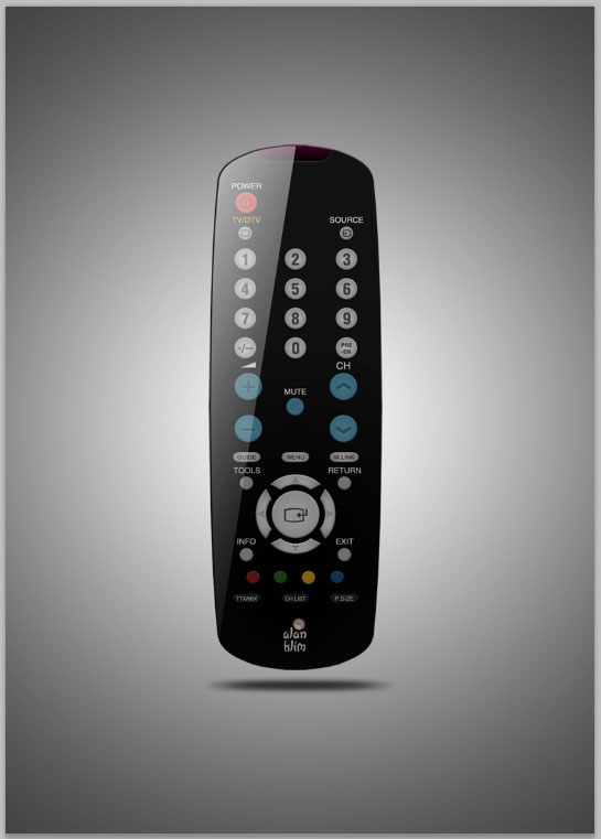 final image Create A Realistic TV Remote Controller In Photoshop