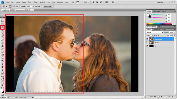 step5 lasso tool Torn Photo Effect
